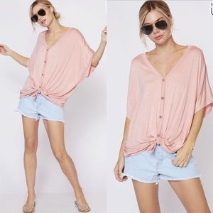 VAL Softest Button Down Top - BLUSH